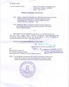 Market Standing Certificate